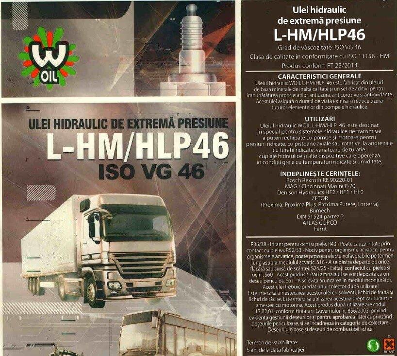Ulei hidraulic  WOIL H 46 EP – HLP 46